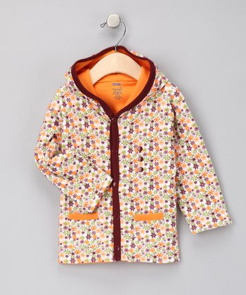 Orange Flower Hooded Reversible Jacket