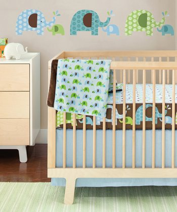 Blue Elephant Four-Piece Crib Bedding Set