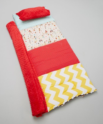 Brown & Red Sidewalk Kids Quilted Nap Mat