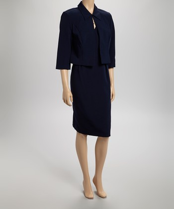 Navy Chain Surplice Dress & Jacket