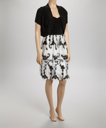 Black & White Ruched Scroll Dress & Shrug