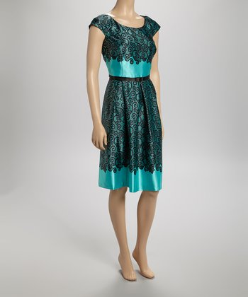 Aqua & Black Scroll Belted Cap-Sleeve Dress