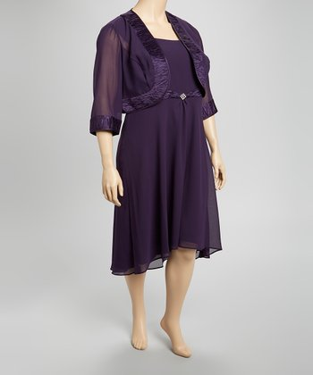 Eggplant Trim Sleeveless Hi-Low Dress & Jacket - Plus