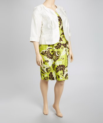 Ivory & Green Floral Shantung Dress & Jacket - Plus