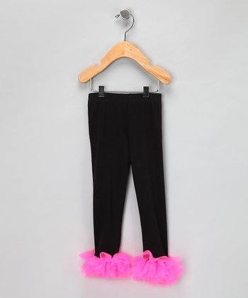 Black & Hot Pink Ruffle Leggings - Infant, Toddler & Girls
