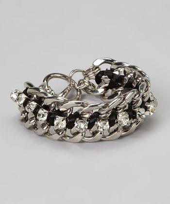 Silver & Black Rhinestone Link Bracelet