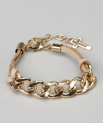 Beige & Gold Cross Chain Link Bracelet