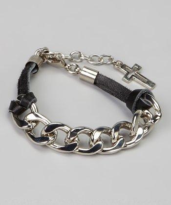 Black & Silver Cross Chain Link Bracelet