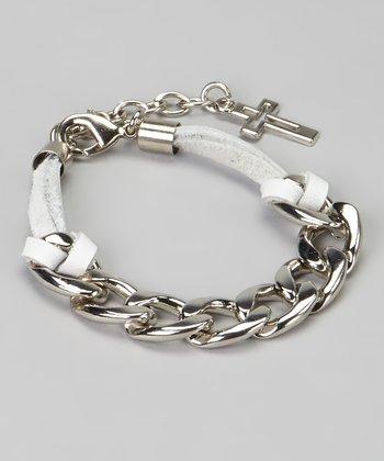 White & Silver Cross Chain Link Bracelet