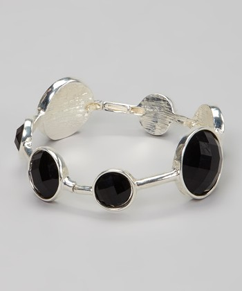 Black & Silver Gem Stretch Bracelet
