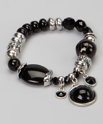Black & Silver Bead Stretch Bracelet
