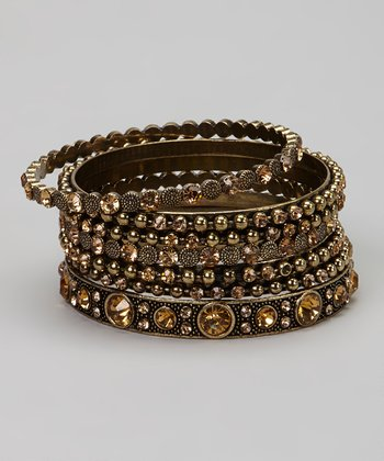 Amber & Bronze Gem Kazbah Bangle Set