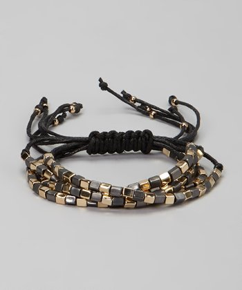 Gold & Hematite Bead Friendship Stretch Bracelet