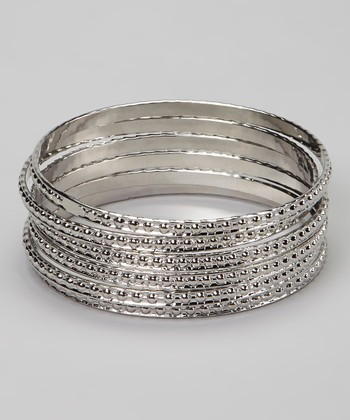Silver Studded Bangle – Set of Six