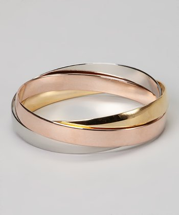 Silver, Gold & Copper Intertwined Bangle Set