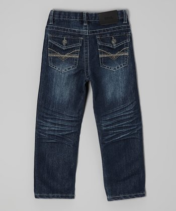 Dark Wash & Beige Embroidered Jeans - Toddler & Boys