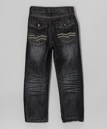 Dark Wash Chevron Embroidered Jeans - Boys