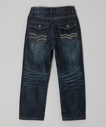 Black Chevron Embroidered Jeans - Boys