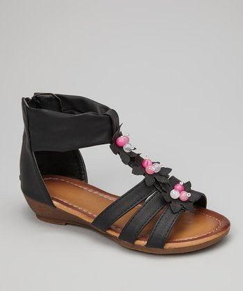 Black Flower Gladiator Sandal