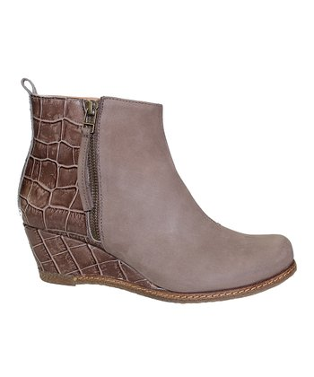 Taupe Leather Nadine Wedge Boot