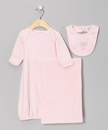 Pink Polka Dot Gown Set