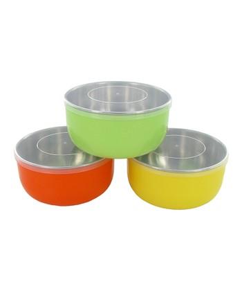 Orange, Green & Yellow Baby Bowl Set