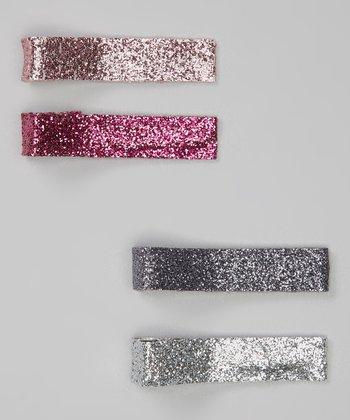 Silver & Charcoal Sparkle Clip Set