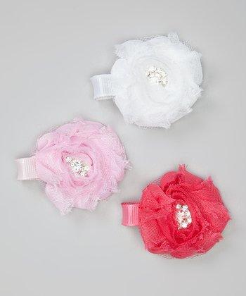 White, Pink & Hot Pink Shabby Flower Rhinestone Clip Set