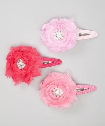 Light Pink, Pink & Hot Pink Shabby Flower Clip Set