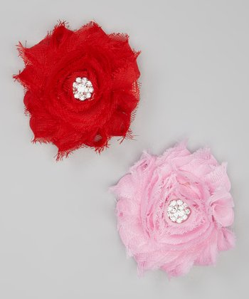Red & Pink Shabby Flower Clip Set