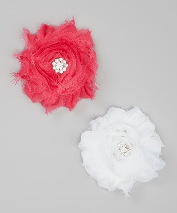 Hot Pink & White Shabby Flower Clip Set