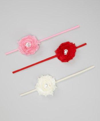 Ivory, Pink & Red Shabby Flower Headband Set