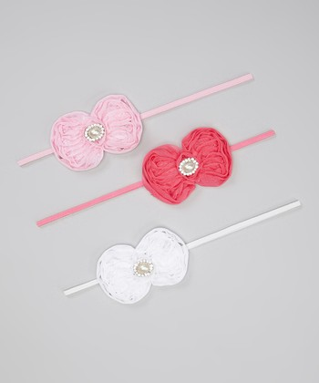 Hot Pink, Light Pink & White Chiffon Bow Headband Set