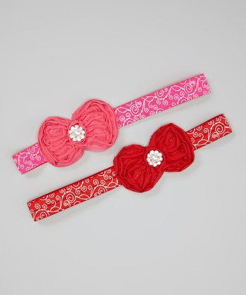 Hot Pink & Red Chiffon Bow Headband Set