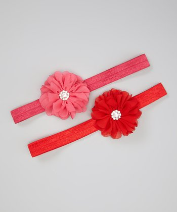 Hot Pink & Red Chiffon Flower Headband Set