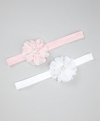 Light Pink & White Chiffon Flower Headband Set