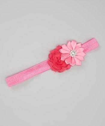 Hot Pink Shabby Flower Headband