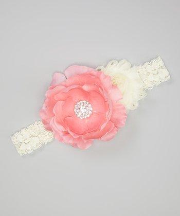 Pink & Ivory Rhinestone Ranunculus Headband