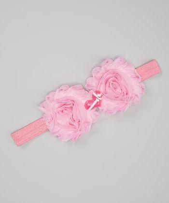 Pink Heart Shabby Flower Headband