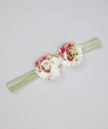 Red & Olive Summer Rose Headband
