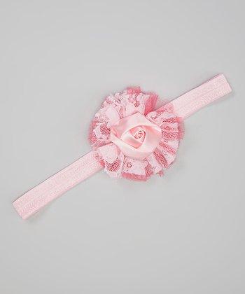Pink Lace Rose Headband