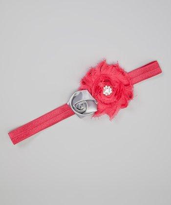Hot Pink & Silver Shabby Flower Headband