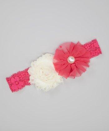 Hot Pink & Ivory Shabby Flower Lace Headband