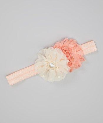 Peach Shabby Flower Headband
