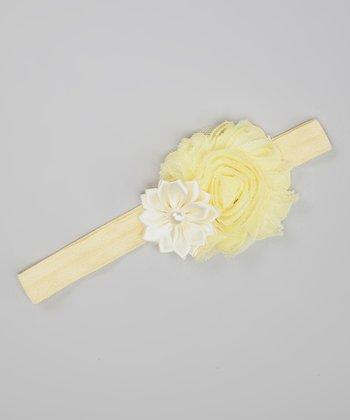 Yellow & Ivory Shabby Flower Headband