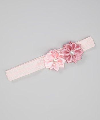 Light Pink & Mauve Ribbon Flower Headband