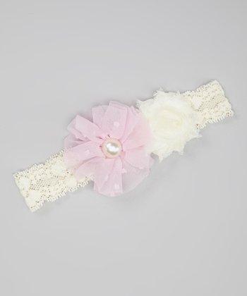 Ivory & Light Pink Chiffon Flower Headband