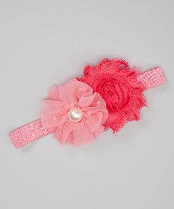 Pink & Hot Pink Shabby Flower Headband