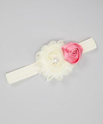 Ivory & Hot Pink Sparkle Shabby Flower Headband