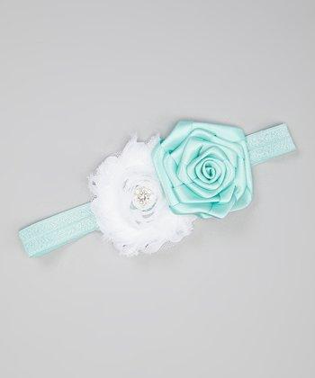 Aqua Blue & White Shabby Flower Headband